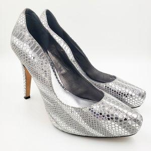 WHBM  Silver Metallic Rece Snakeskin Print Heels